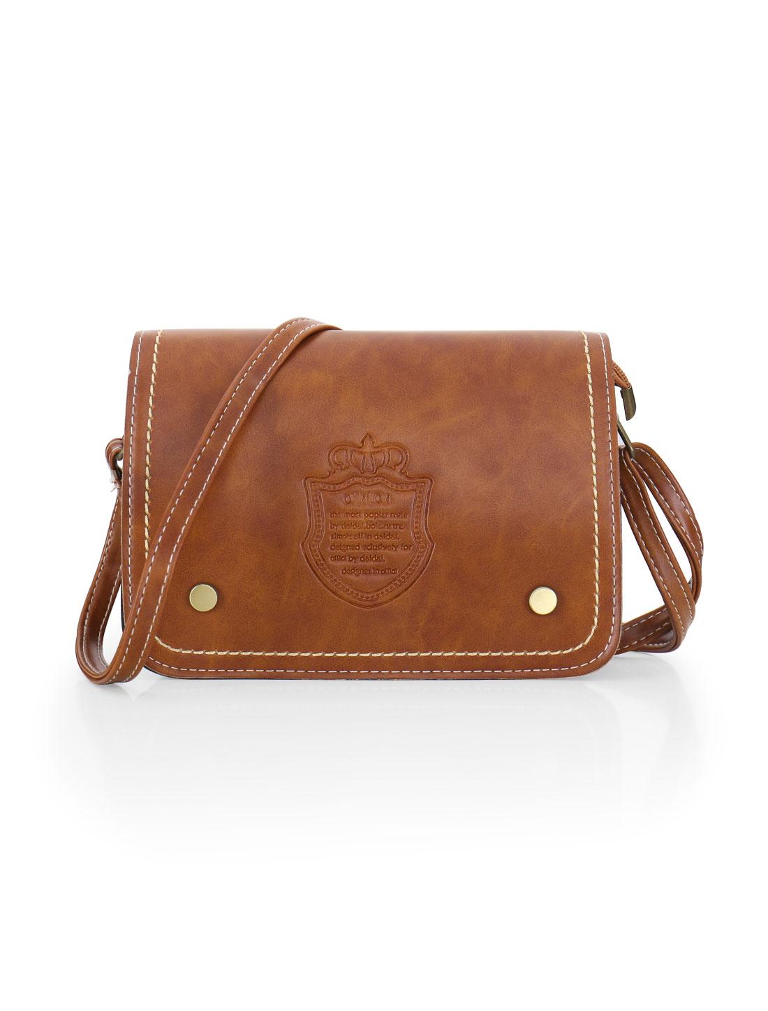 Women Letters Crown Embossed Magnetic Flap Closure Crossbody Bag Light Brown