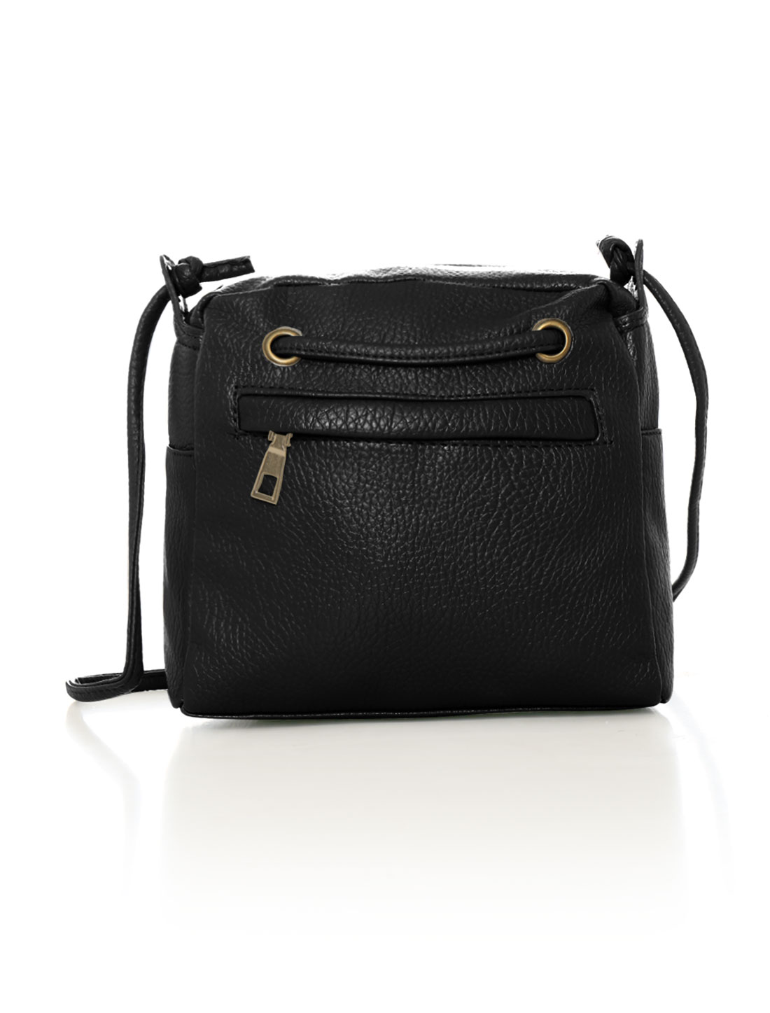Women Zip Closure Decorative Front Strap PU Crossbody Bag Black