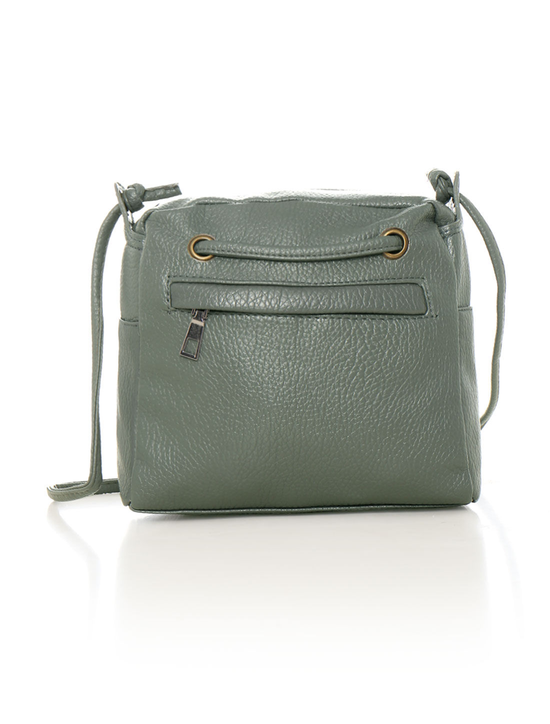 Women Zip Closure Decorative Front Strap PU Crossbody Bag Gray