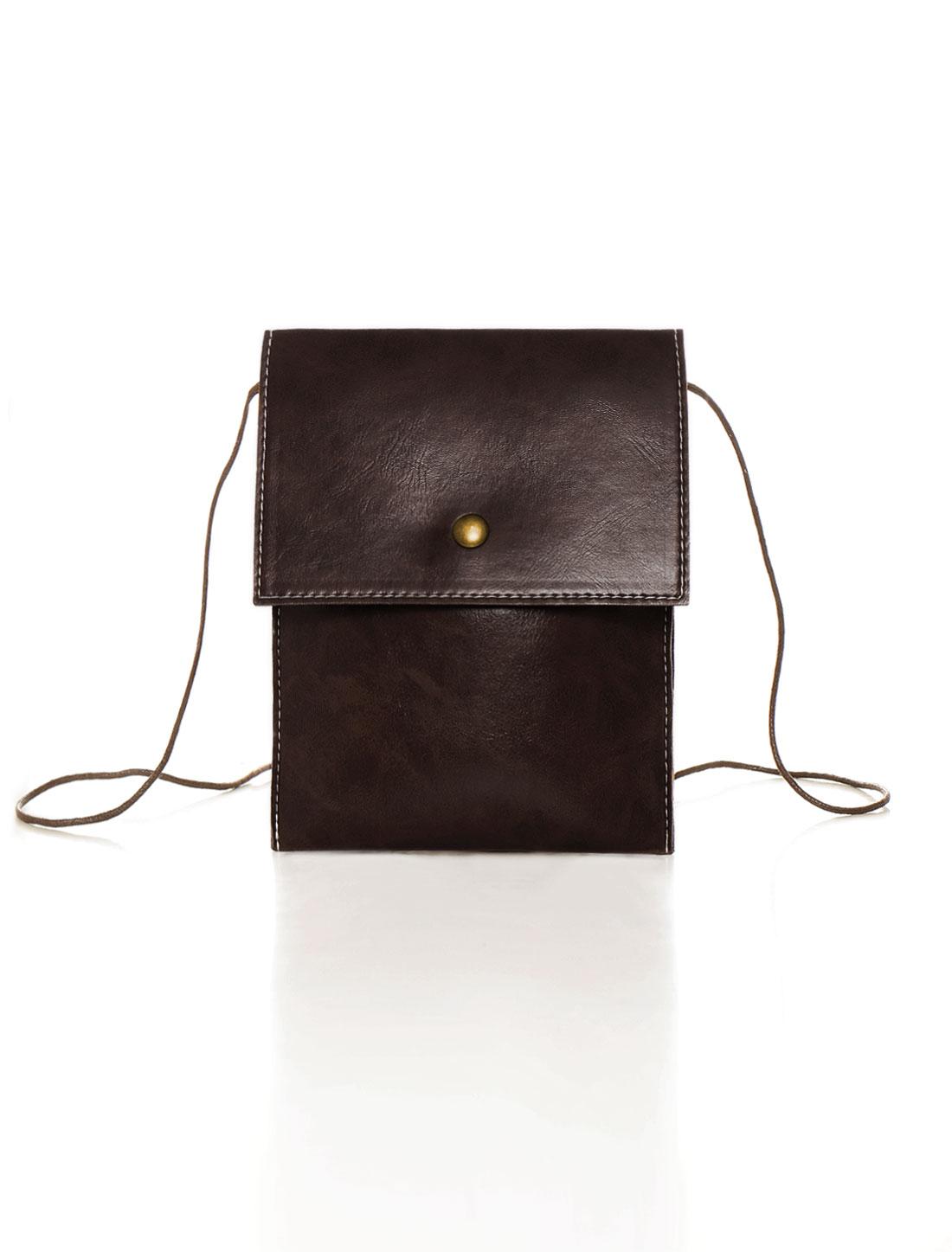 Women Unadjustable Strap Snap-magnetic Closure Crossbody Bag Brown