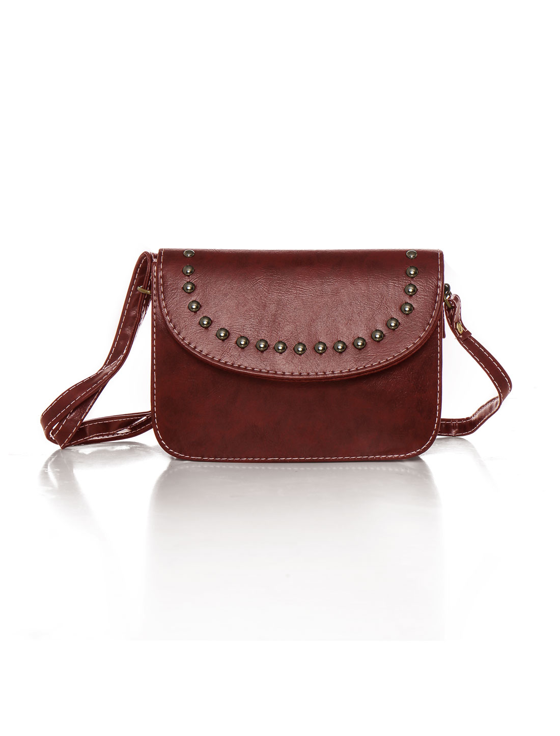 Women Adjustable Strap Stud Decor PU Crossbody Bag Red