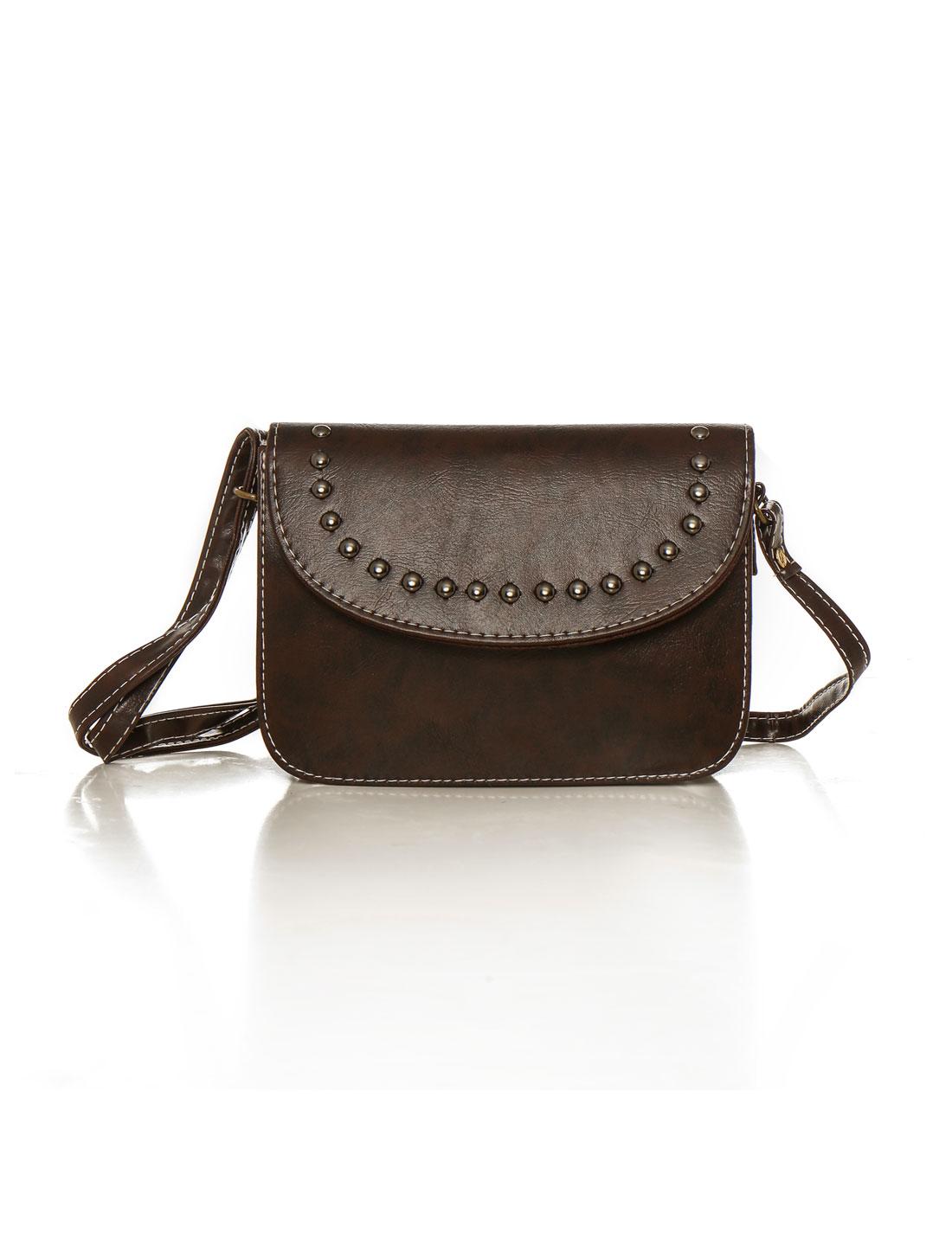Women Adjustable Strap Stud Decor PU Crossbody Bag Red Black Brown