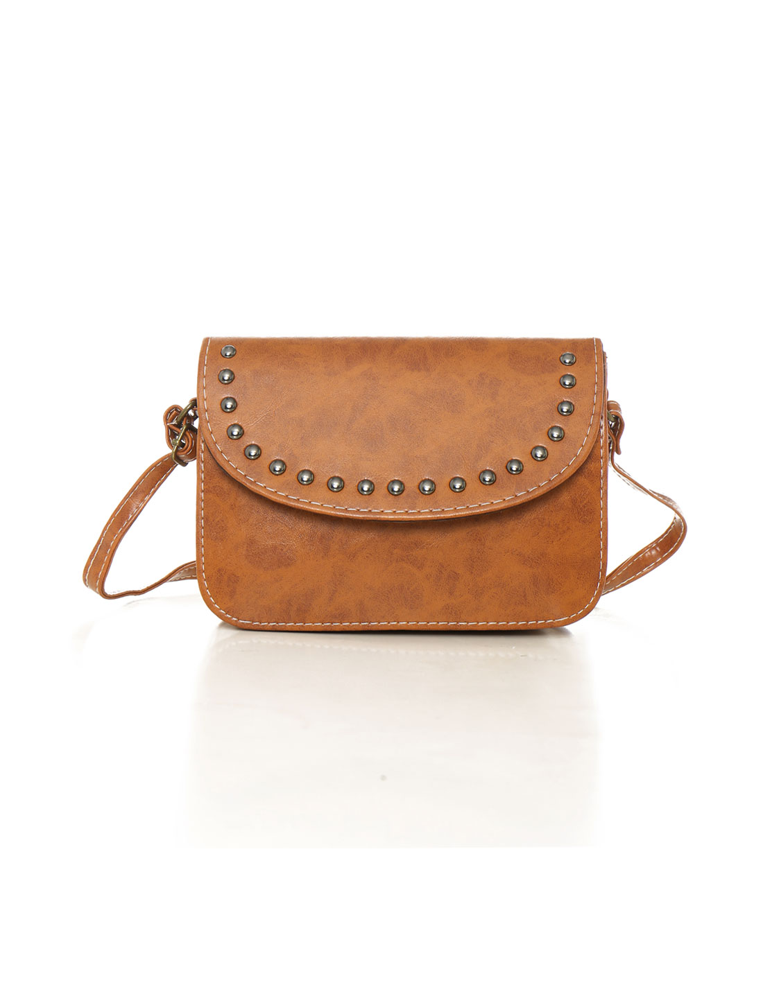 Women Adjustable Strap Stud Decor PU Crossbody Bag Red Camel