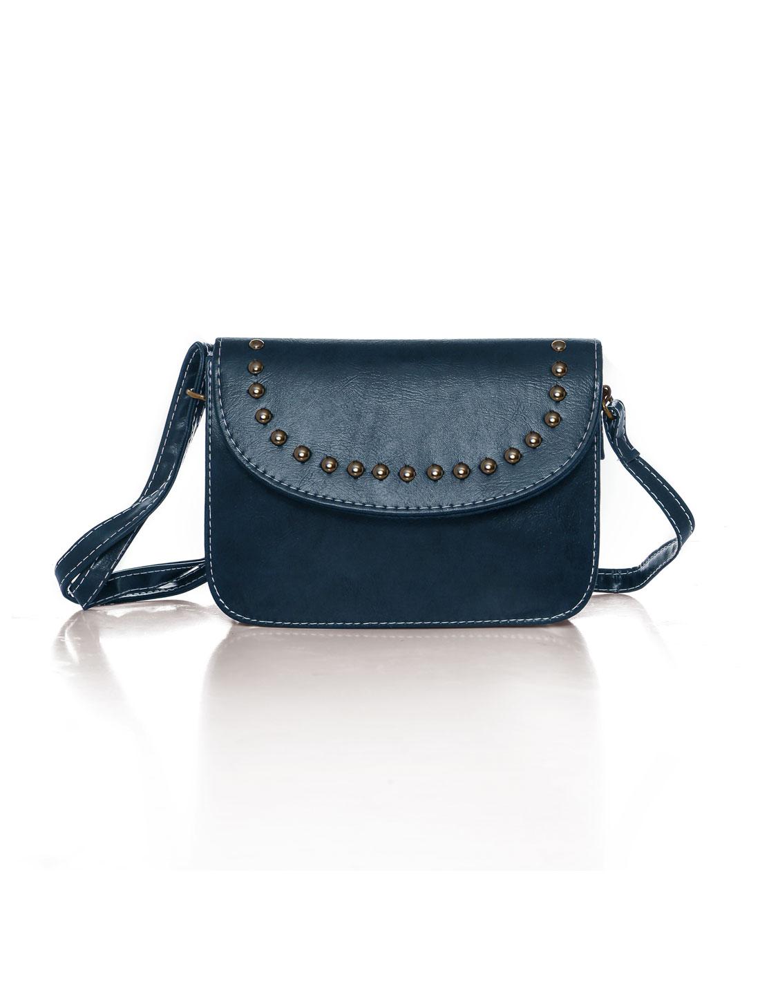 Women Adjustable Strap Stud Decor PU Crossbody Bag Red Blue