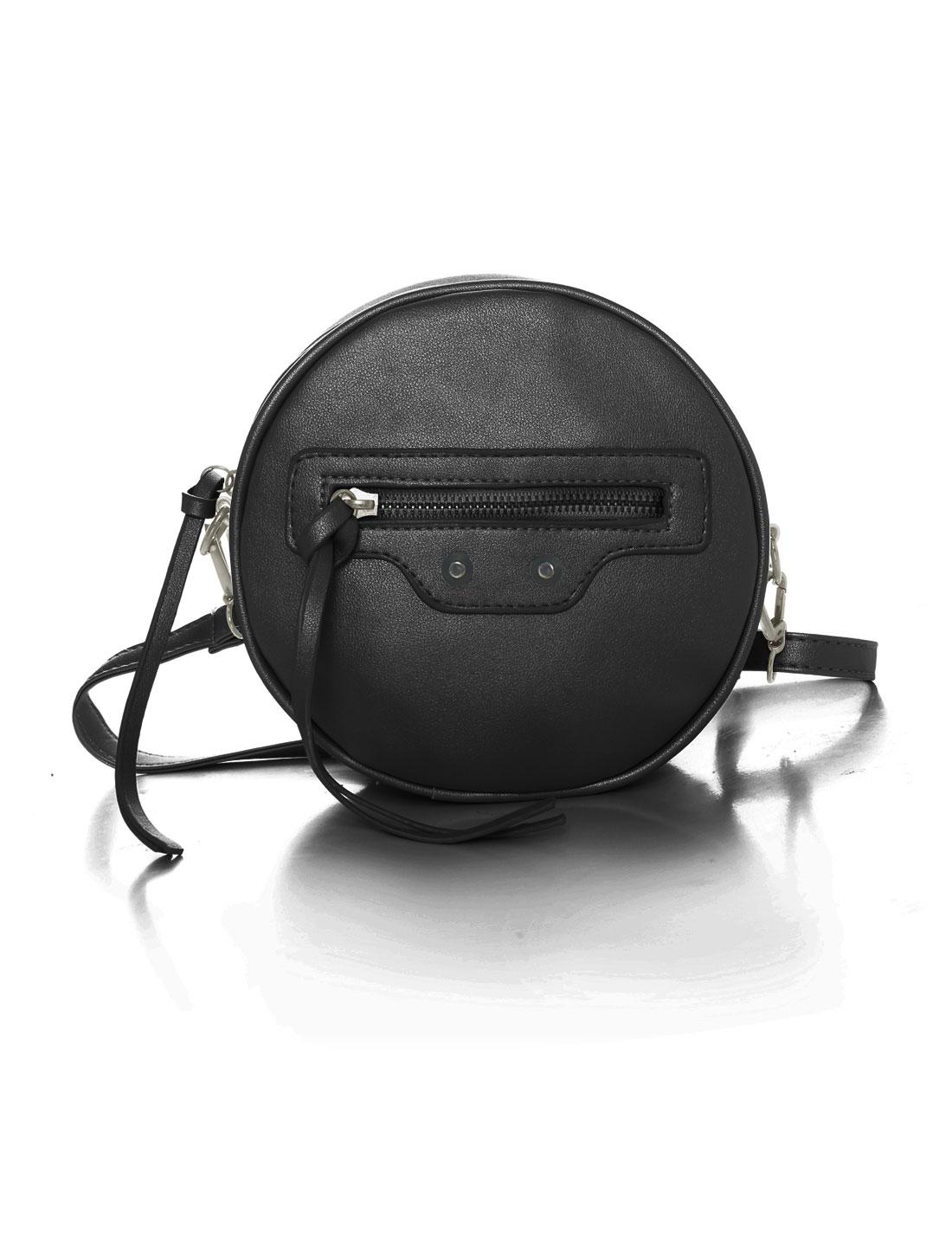 Women Detachable Strap Zip Closure Round PU Crossbody Bag Black
