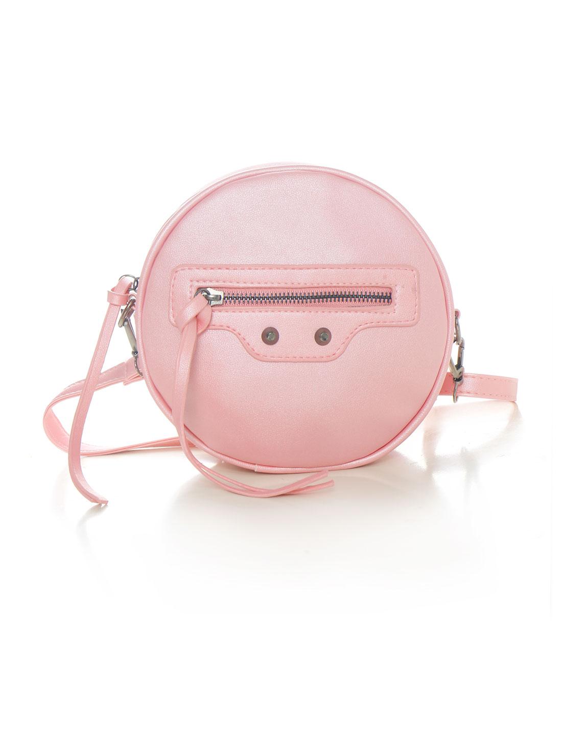 Women Detachable Strap Zip Closure Round PU Crossbody Bag Pink