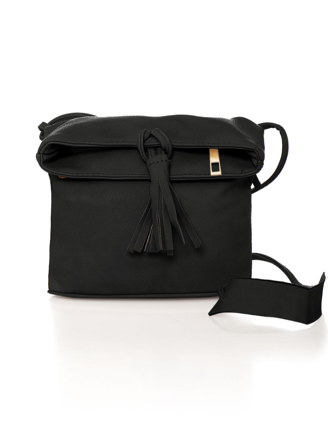 Women Zip Closure Magnetic Snap Buttons Crossbody Bag Black