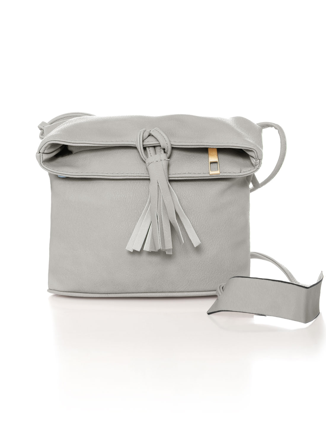 Women Zip Closure Magnetic Snap Buttons Crossbody Bag Gray
