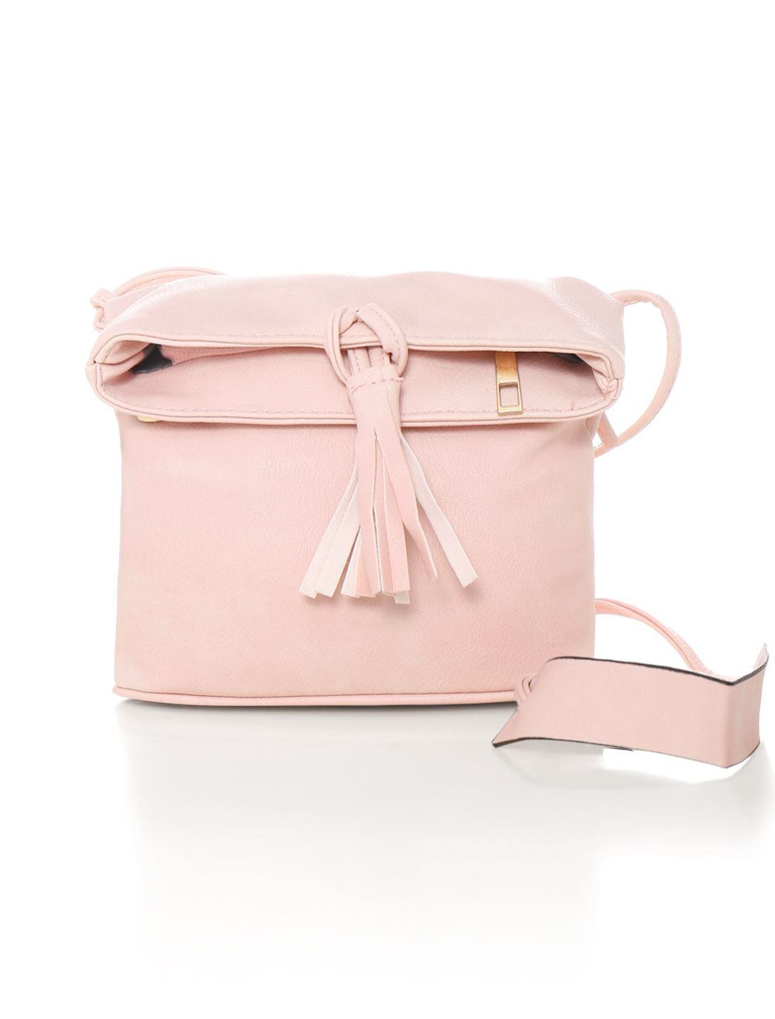 Women Zip Closure Magnetic Snap Buttons Crossbody Bag Pink