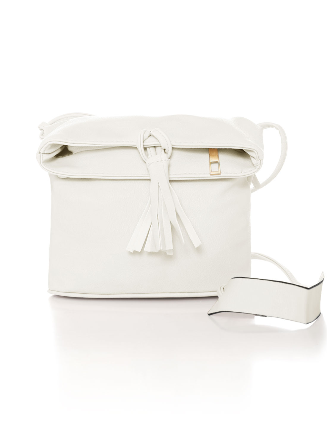 Women Zip Closure Magnetic Snap Buttons Crossbody Bag Ivory