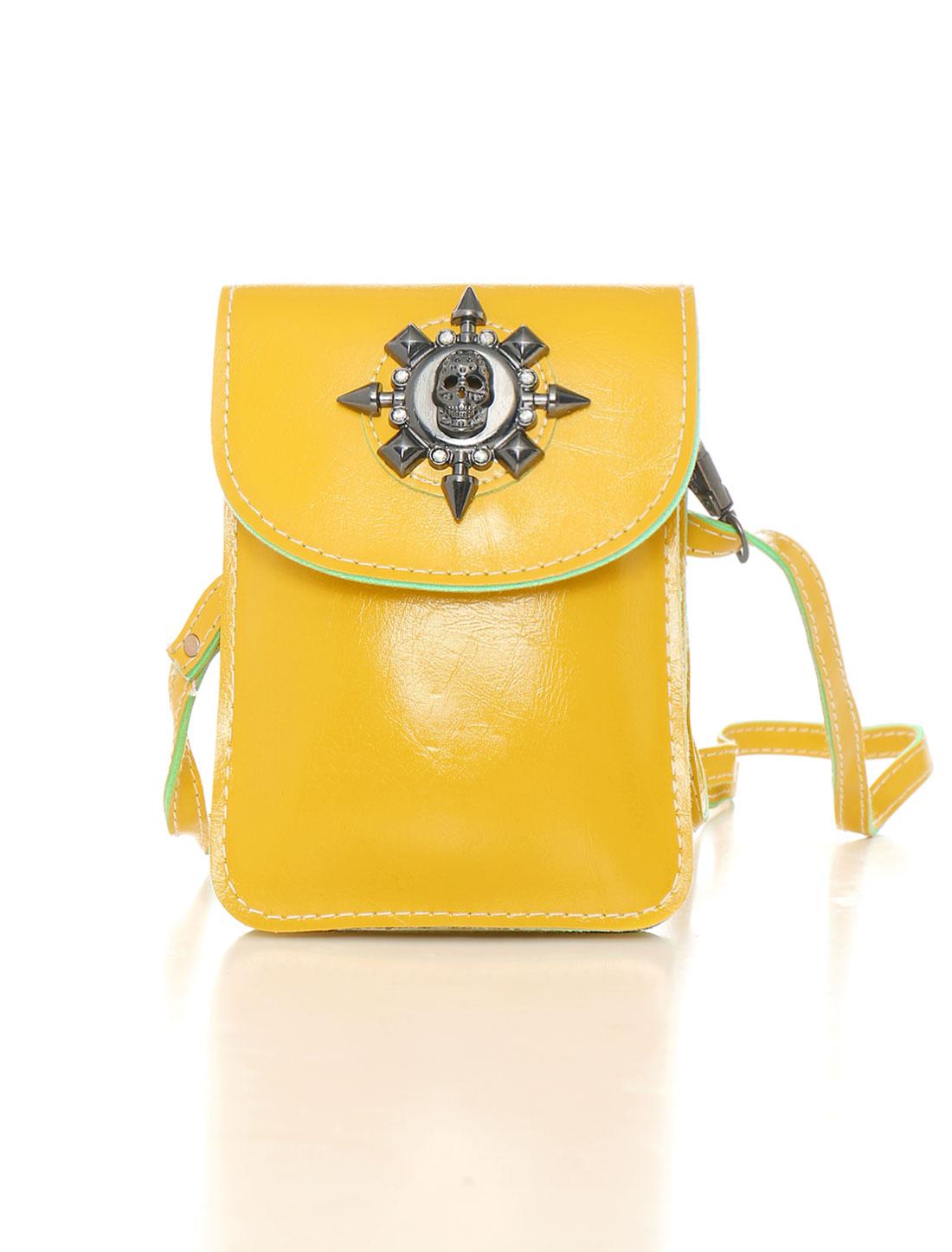 Women Shoulder Strap Metallic Skull Decor PU Crossbody Bag Yellow