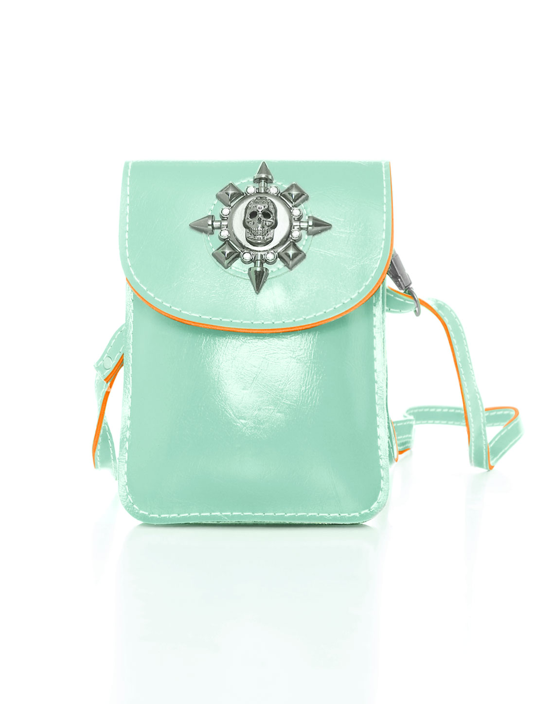 Women Shoulder Strap Metallic Skull Decor PU Crossbody Bag Green