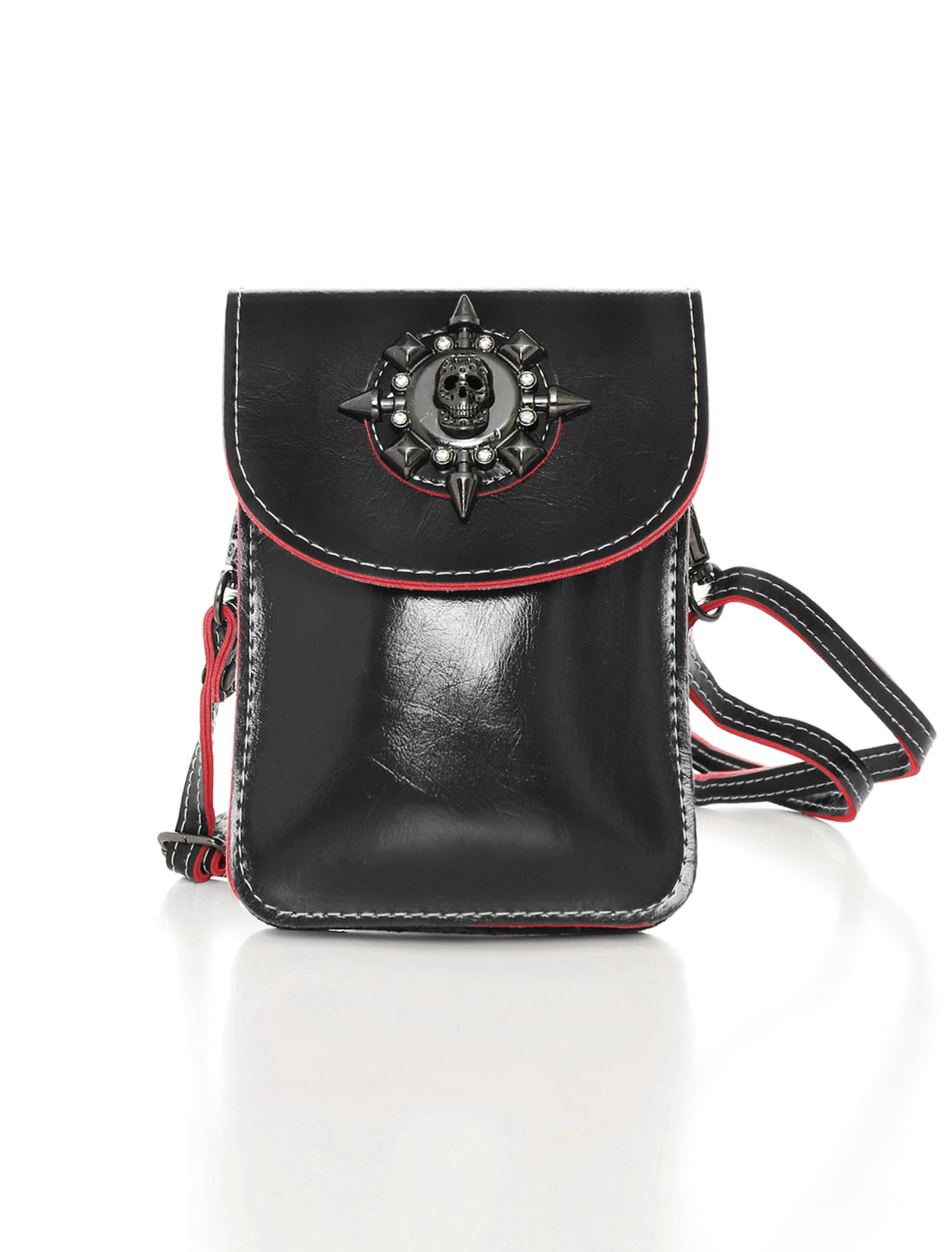 Women Shoulder Strap Metallic Skull Decor PU Crossbody Bag Black