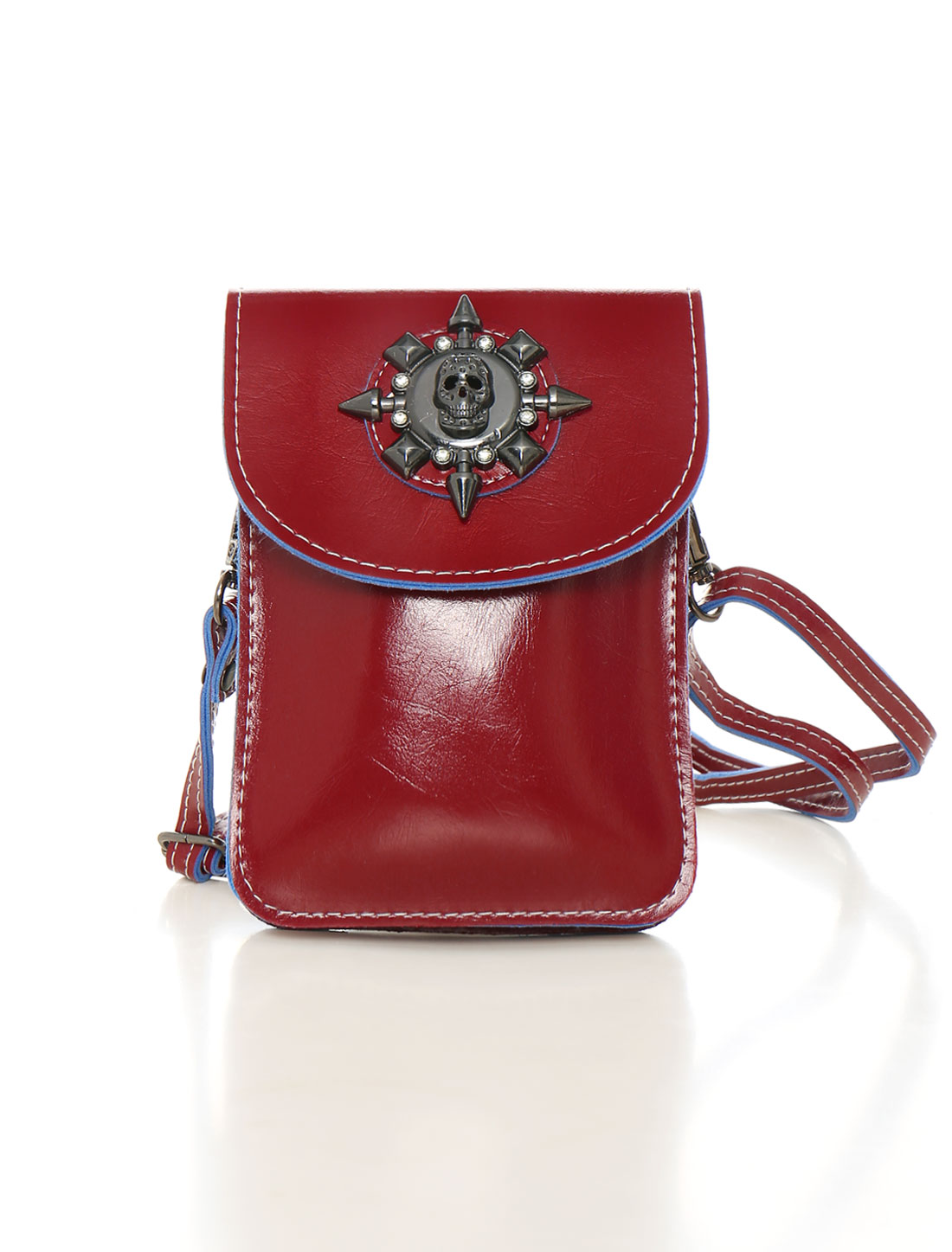 Women Shoulder Strap Metallic Skull Decor PU Crossbody Bag Red