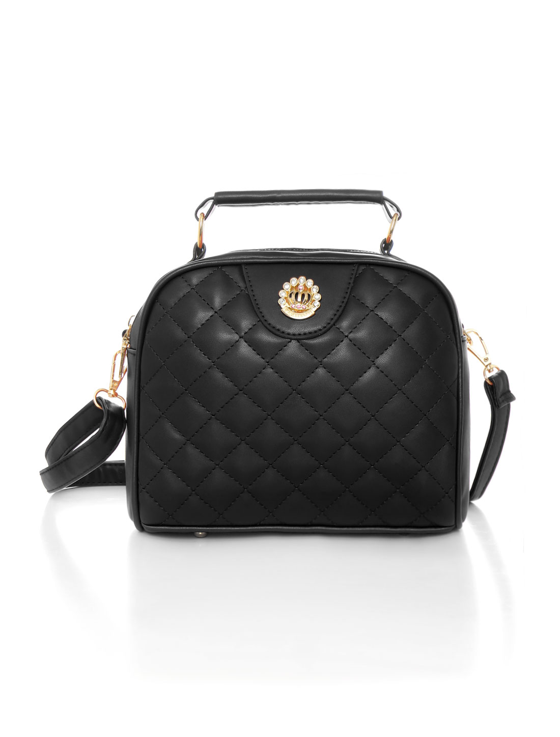 tianlan Women Zip Closed Quilted Top-Handle PU Crossbody Bag Black