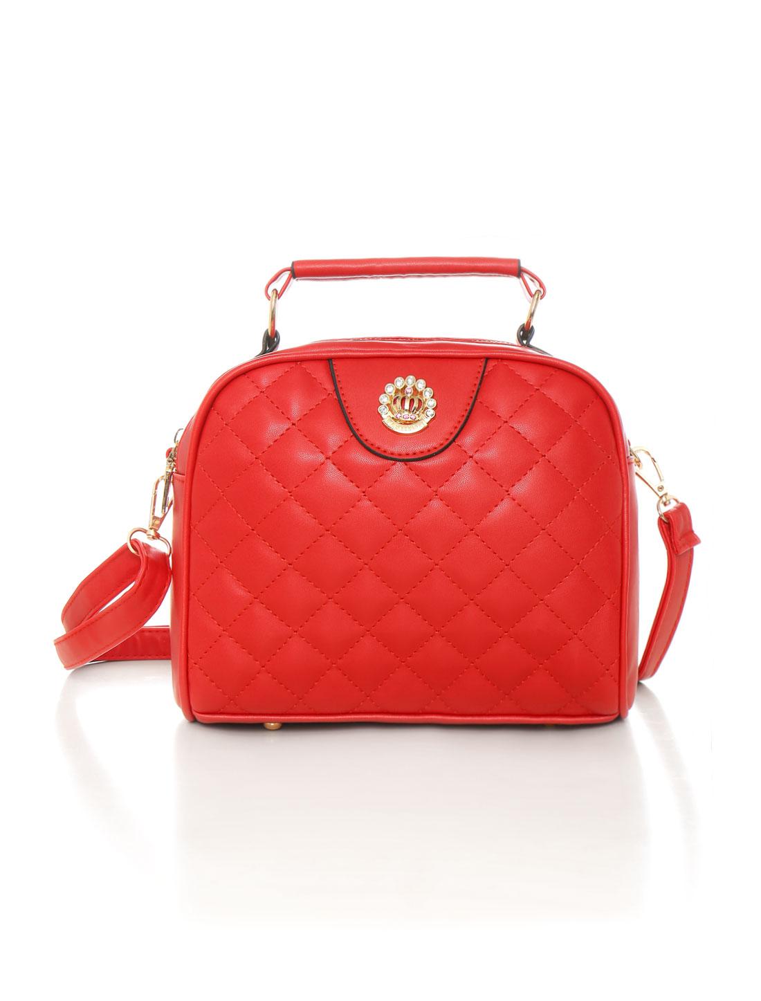 tianlan Women Zip Closed Quilted Top-Handle PU Crossbody Bag Red
