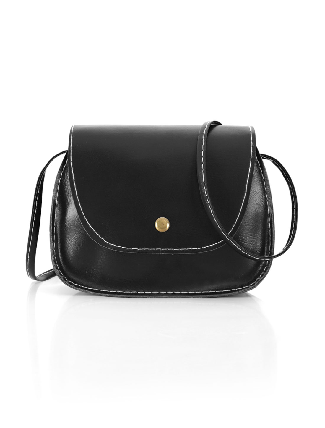 Women Detachable Strap Snap-Magnetic Closure Crossbody Bag Black