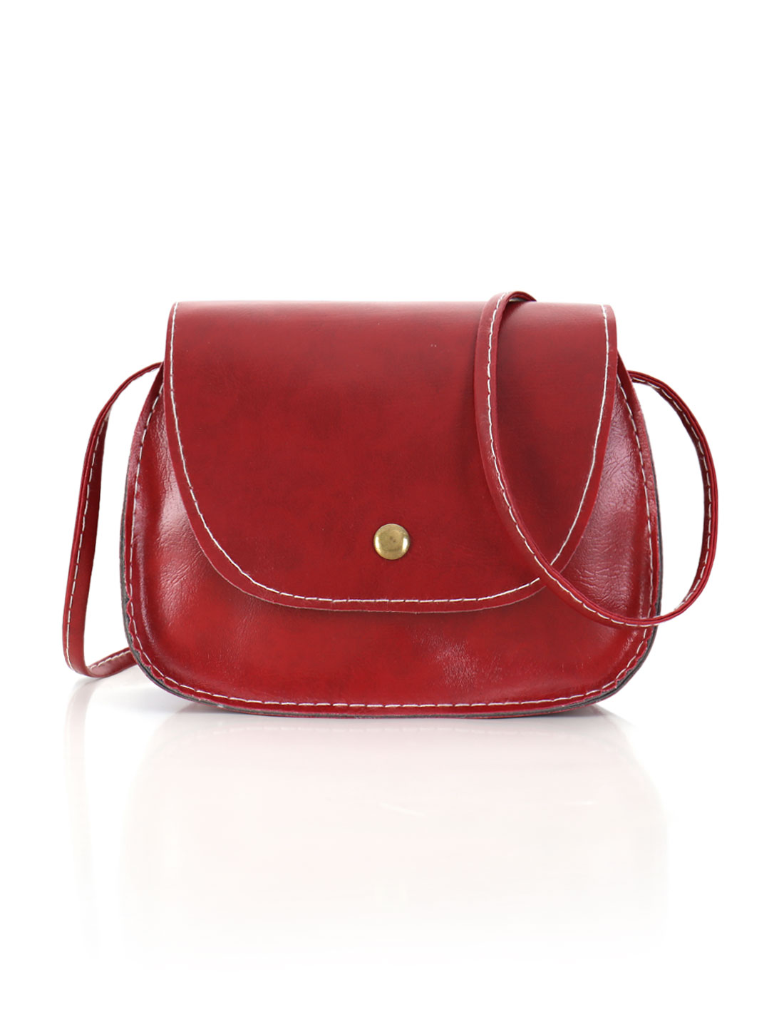 Women Detachable Strap Snap-Magnetic Closure Crossbody Bag Red
