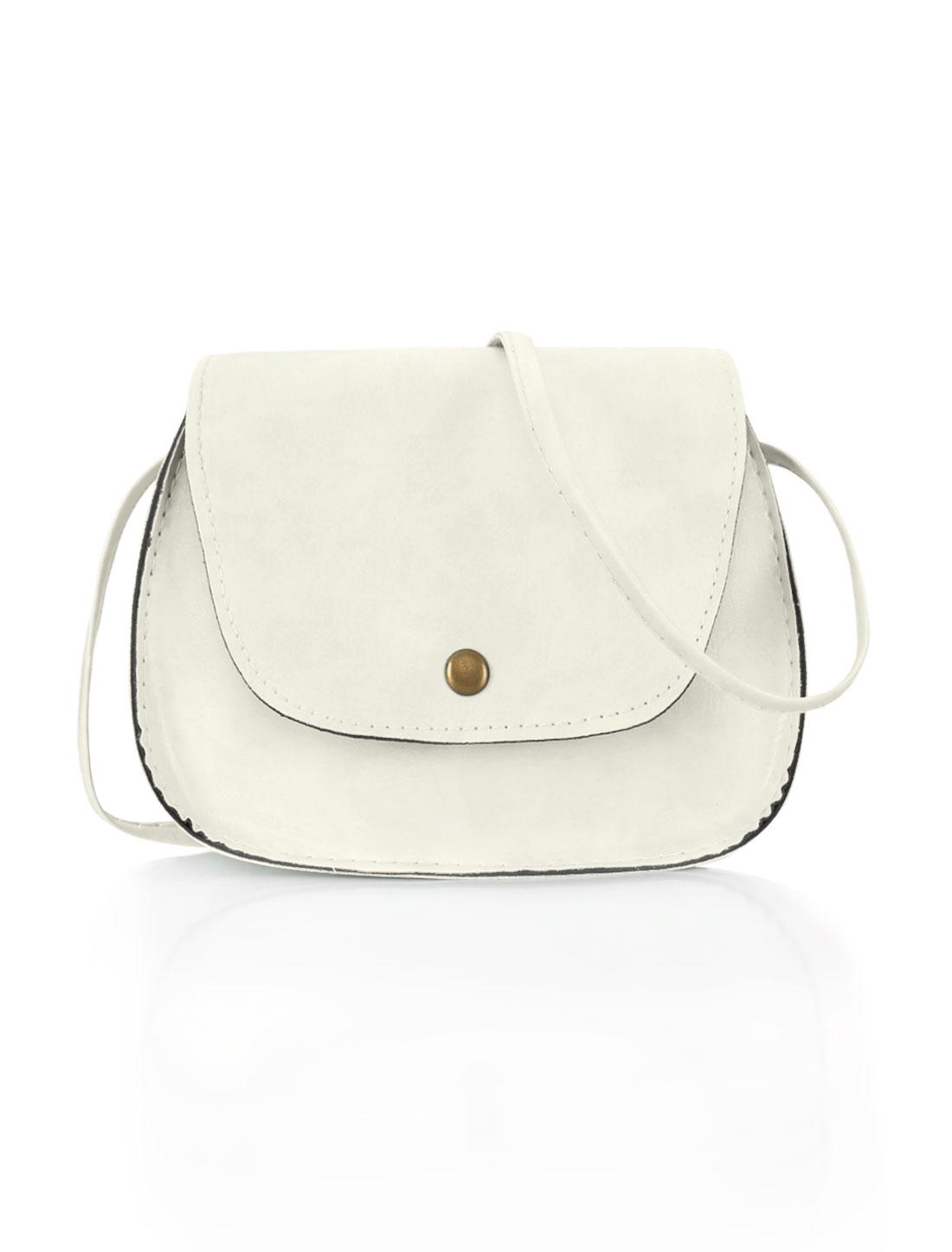 Women Detachable Strap Snap-Magnetic Closure Crossbody Bag White