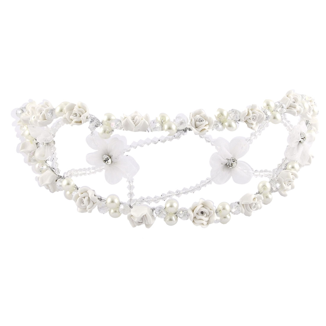 Bridal Polymer Clay Flower Decor Imitation Pearl Rhinestone Detail Handmade Hair Band Headband