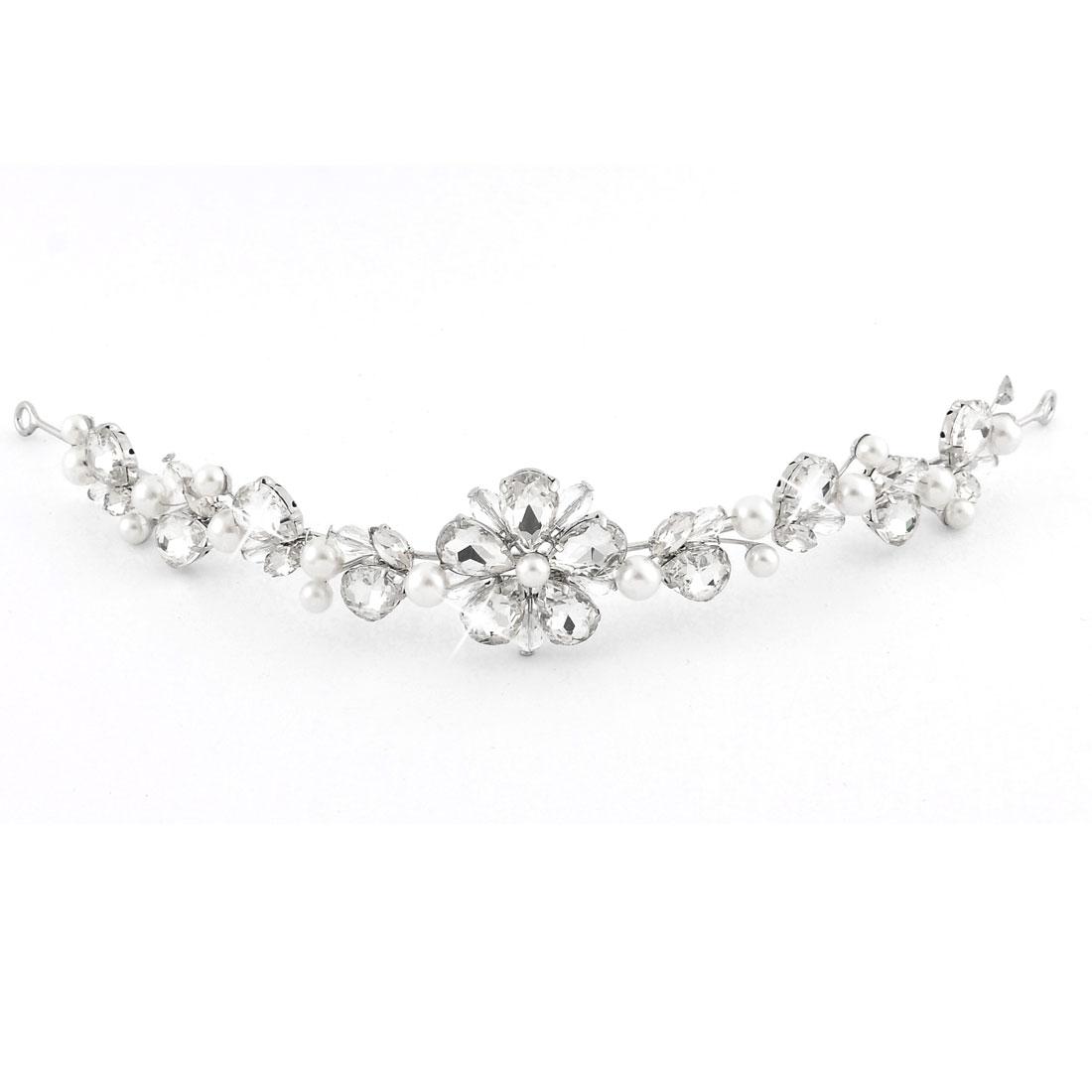 Wedding Bride Imitation Pearl Rhinestone Inlaid Hairband Headpiece Headband Hair Accessory
