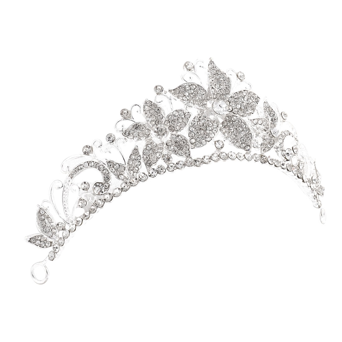 Wedding Pageant Alloy Floral Design Rhinestone Inlaid Headpiece Tiara Crown