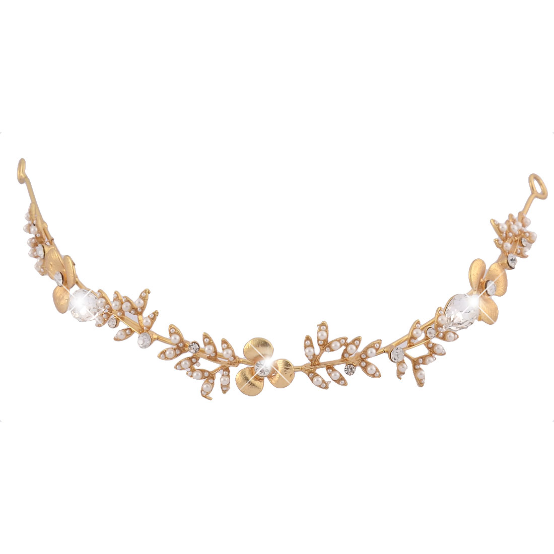Bridal Rhinestone Inlaid Flower Patterned Hair Band Headband Gold Tone