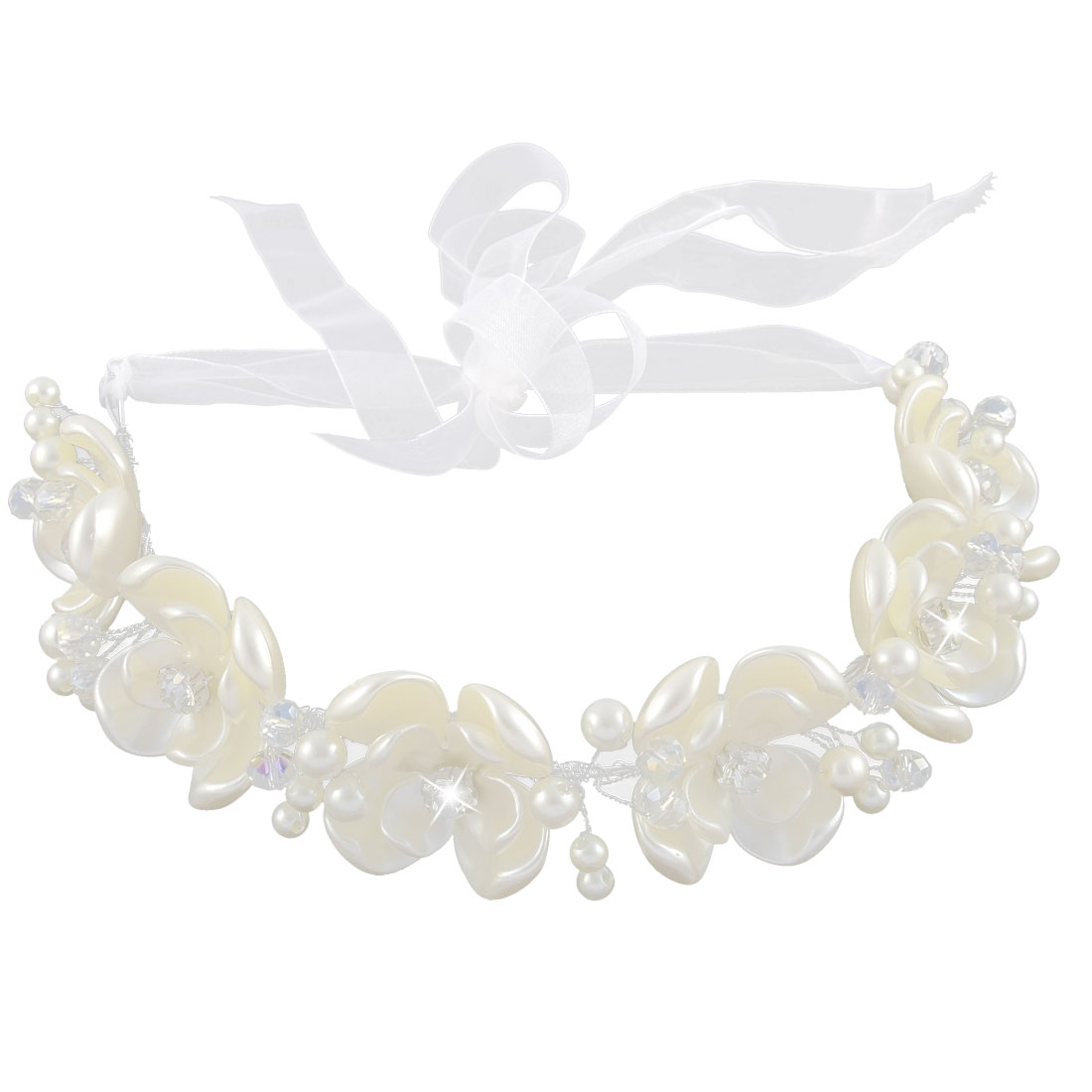 Metal Wire Plastic Flower Rhinestone Inlaid Ribbon Detail Hairband Head Band Headpiece