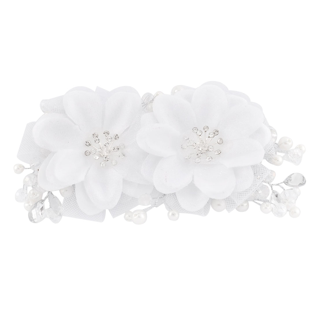 Bridal Bride Double Flower Pattern Imitation Pearl Mesh Detail Hair Band Headband Decor