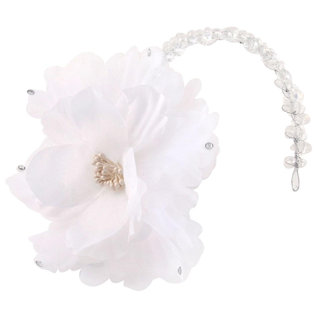Bridal Flower Design Rhinestone Detail Headband Hair Band White