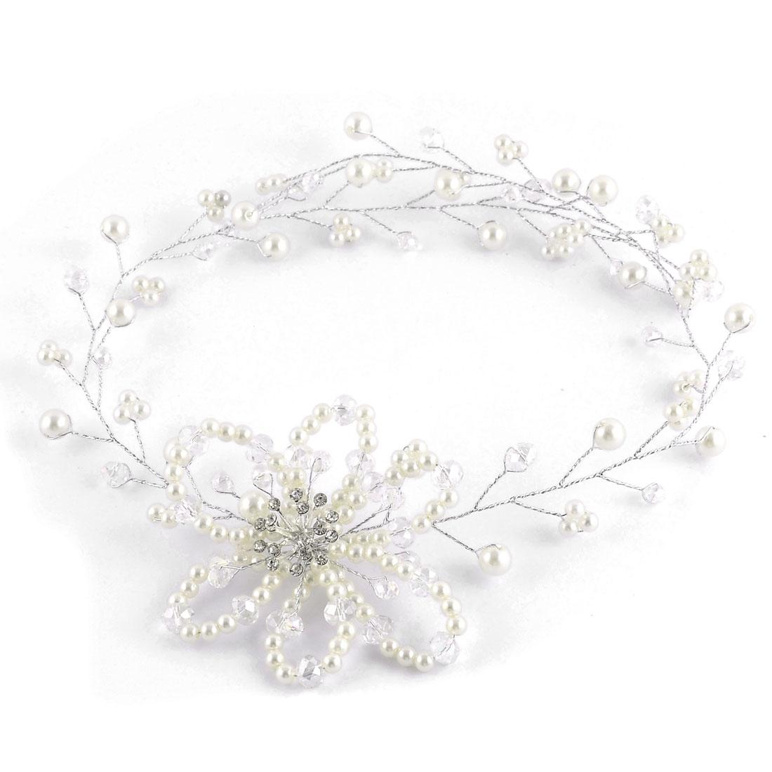 Bridal Lady Flower Design Imitation Pearl Rhinestone Detailed Headband Hair Band