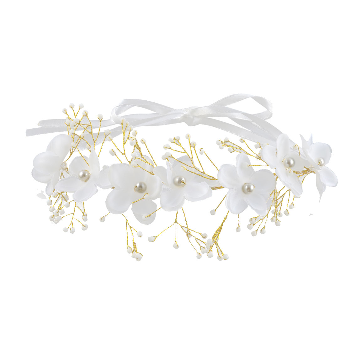 Lady Metal Wire Floral Design Ribbon Faux Imitation Pearl Detail Headband Hair Band