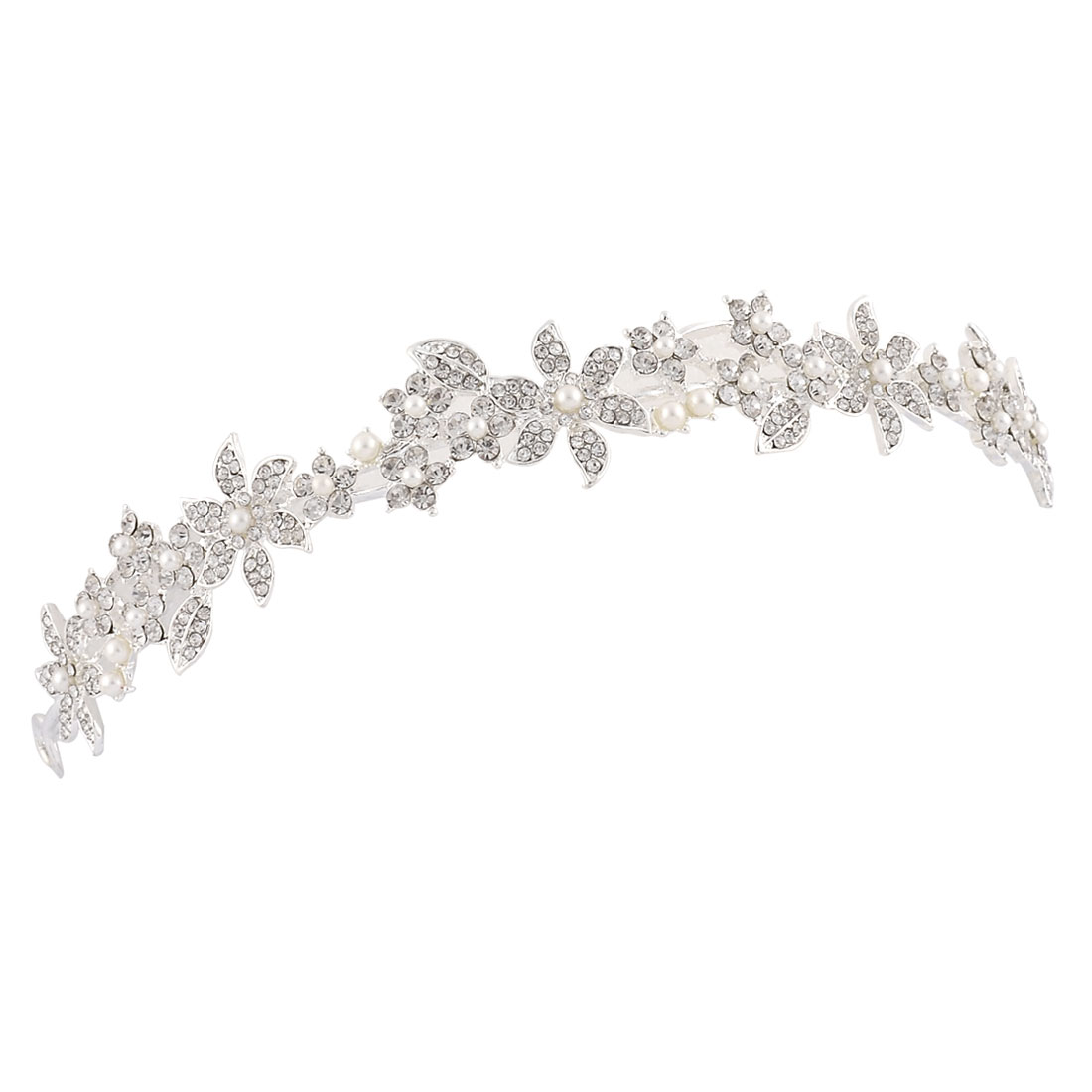 Wedding Bride Lady Simulated Imitation Pearl Detail Rhinestone Inlaid Tiara Headpiece Headband