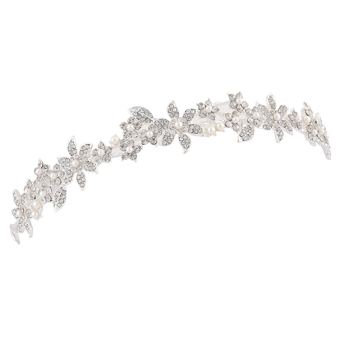 Wedding Bride Lady Simulated Imitation Pearl Detail Rhinestone Inlaid Tiara Headpiece Headband