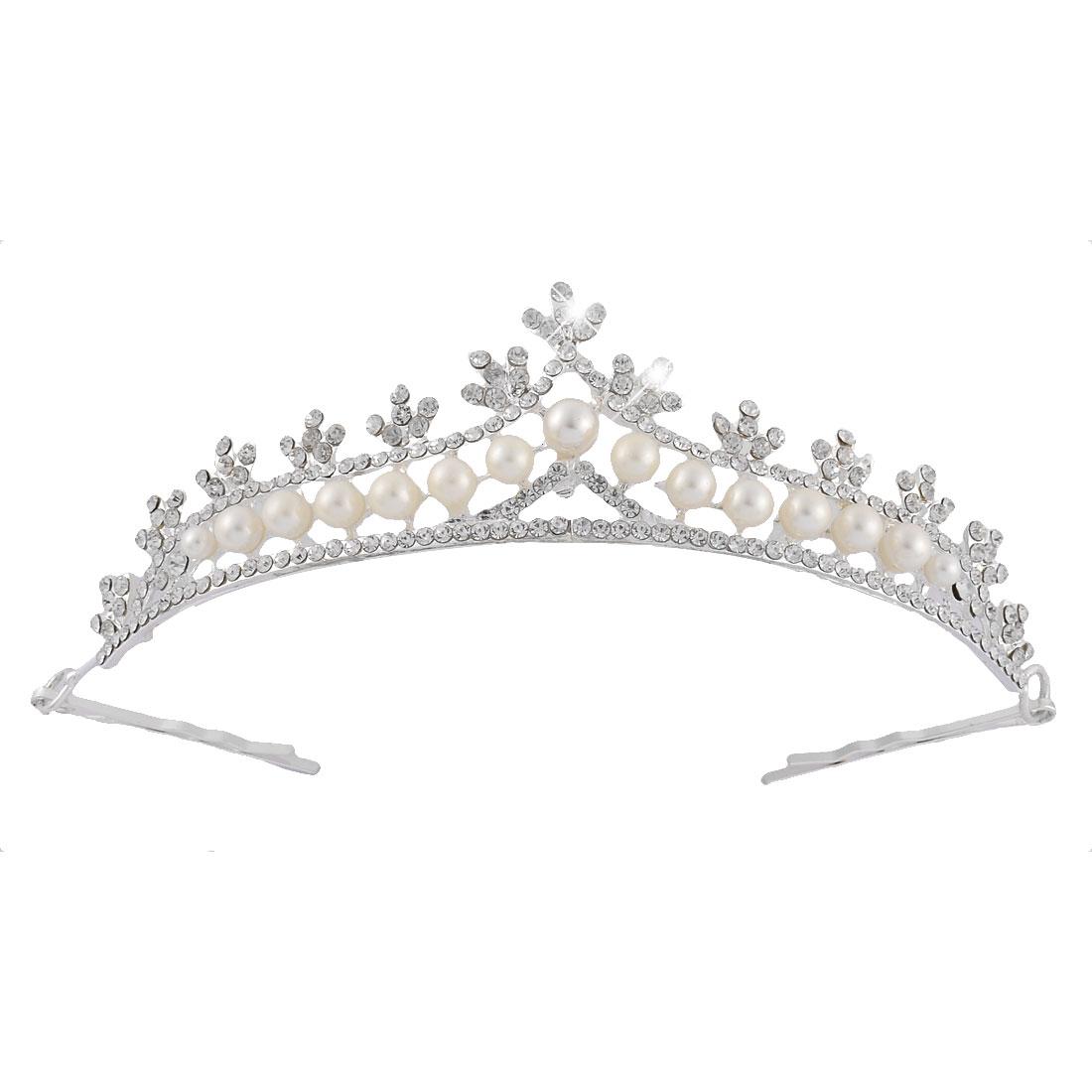 Wedding Bride Rhinestone Imitation Pearl Crown Tiara Headpiece Frontlet Silver Tone