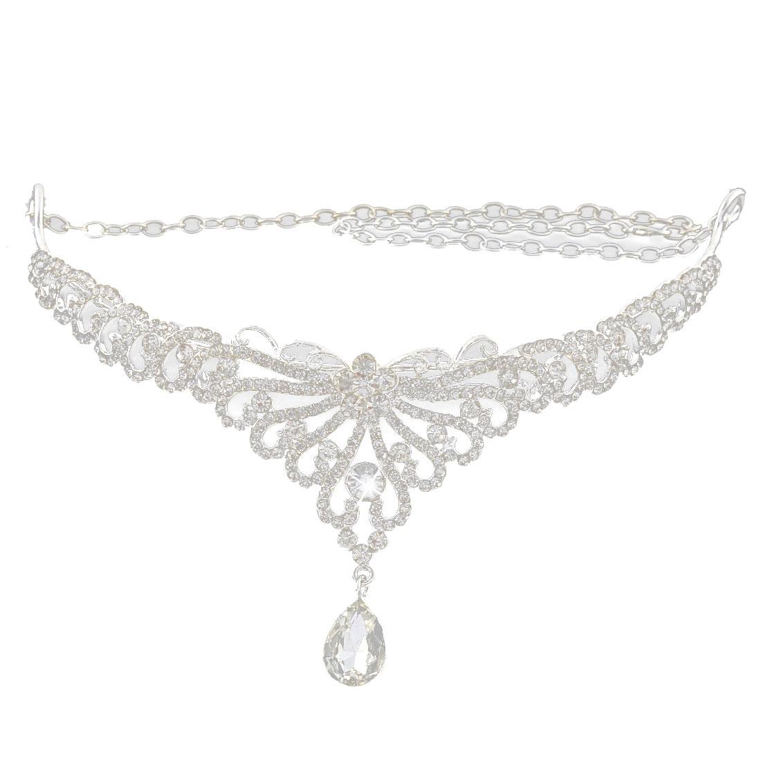 Wedding Bride Rhinestone Droplets Diadem Crown Headpiece Frontlet Silver Tone