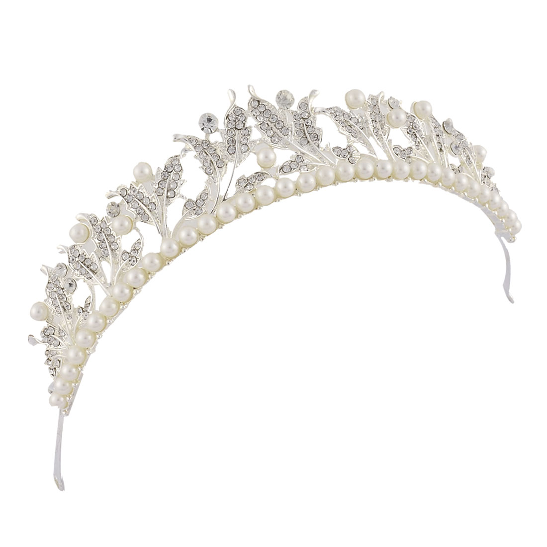 Wedding Bride Rhinestone Imitation Pearl Diadem Crown Headpiece Frontlet Silver Tone