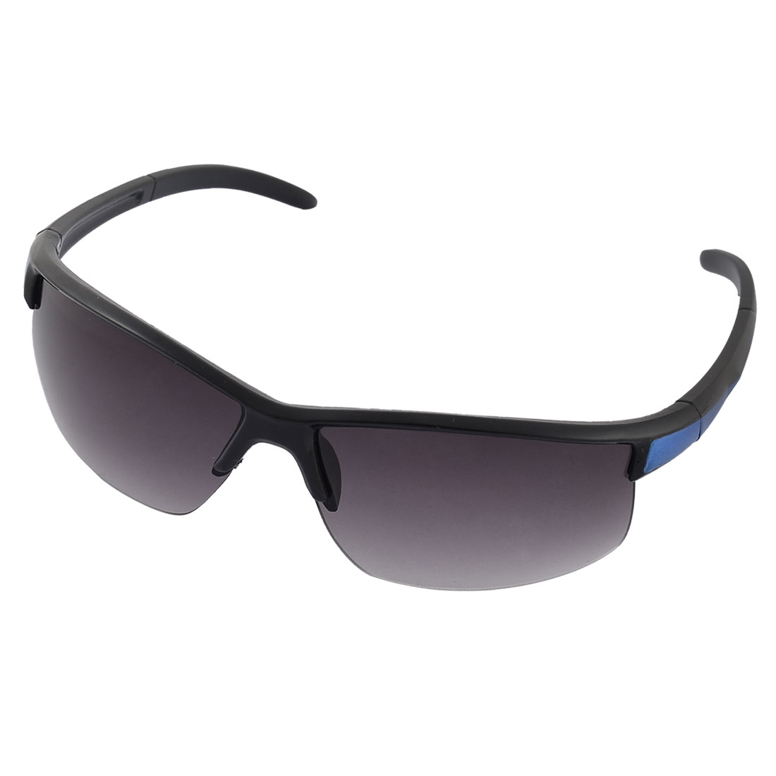 Unisex Plastic Half Rimless Colored Lens Sports Sunglasses Glasses Black Blue