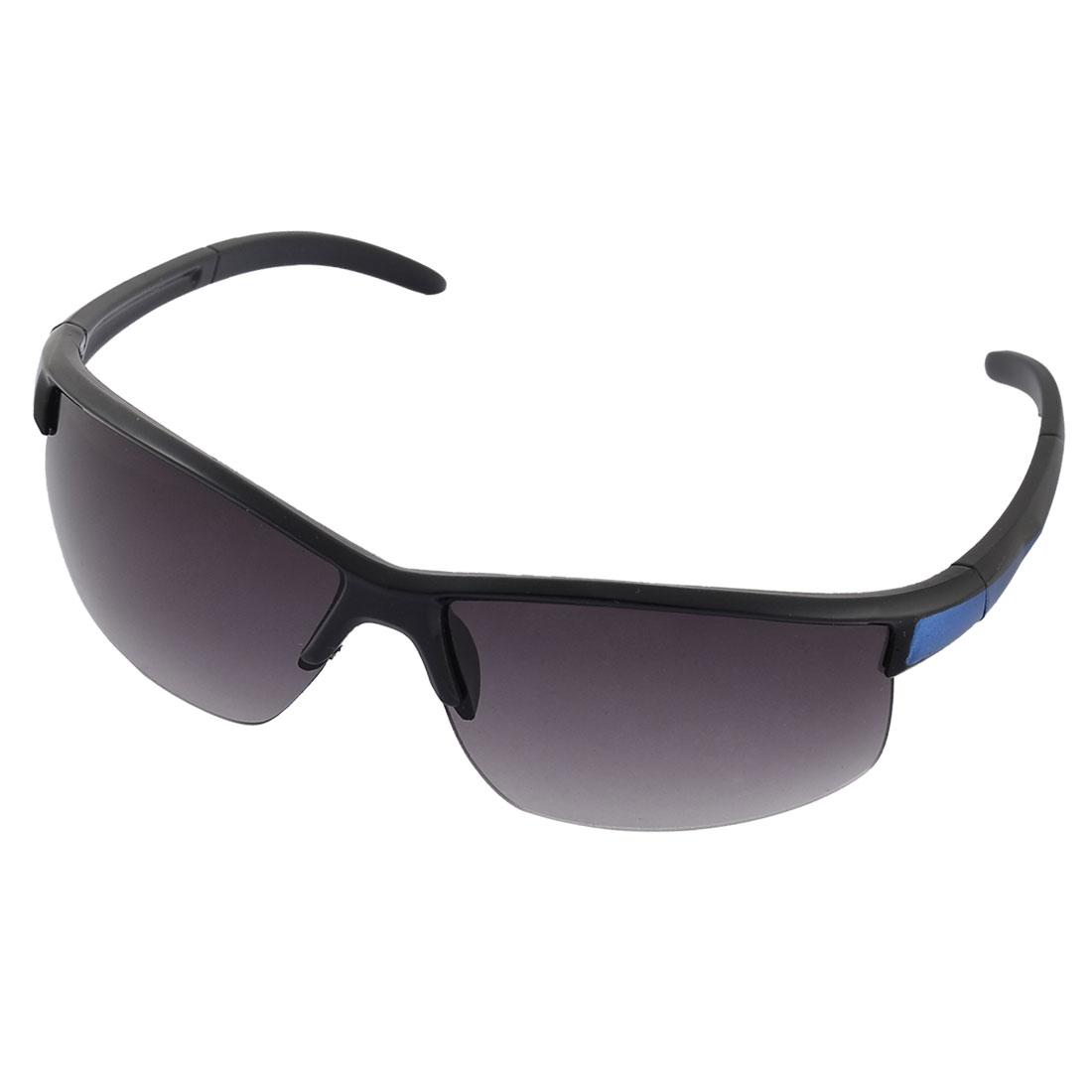 Unisex Plastic Half Rimless Colored Lens Sports Sunglasses Glasses Black Blue
