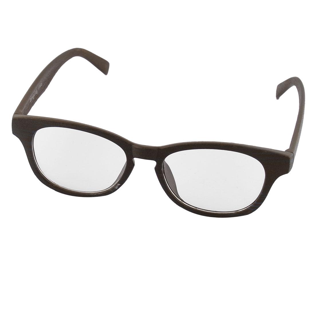 Wood Streak Full Rim Single Bridge Oval Lens Plain Glasses Spectacles Eyeglasses
