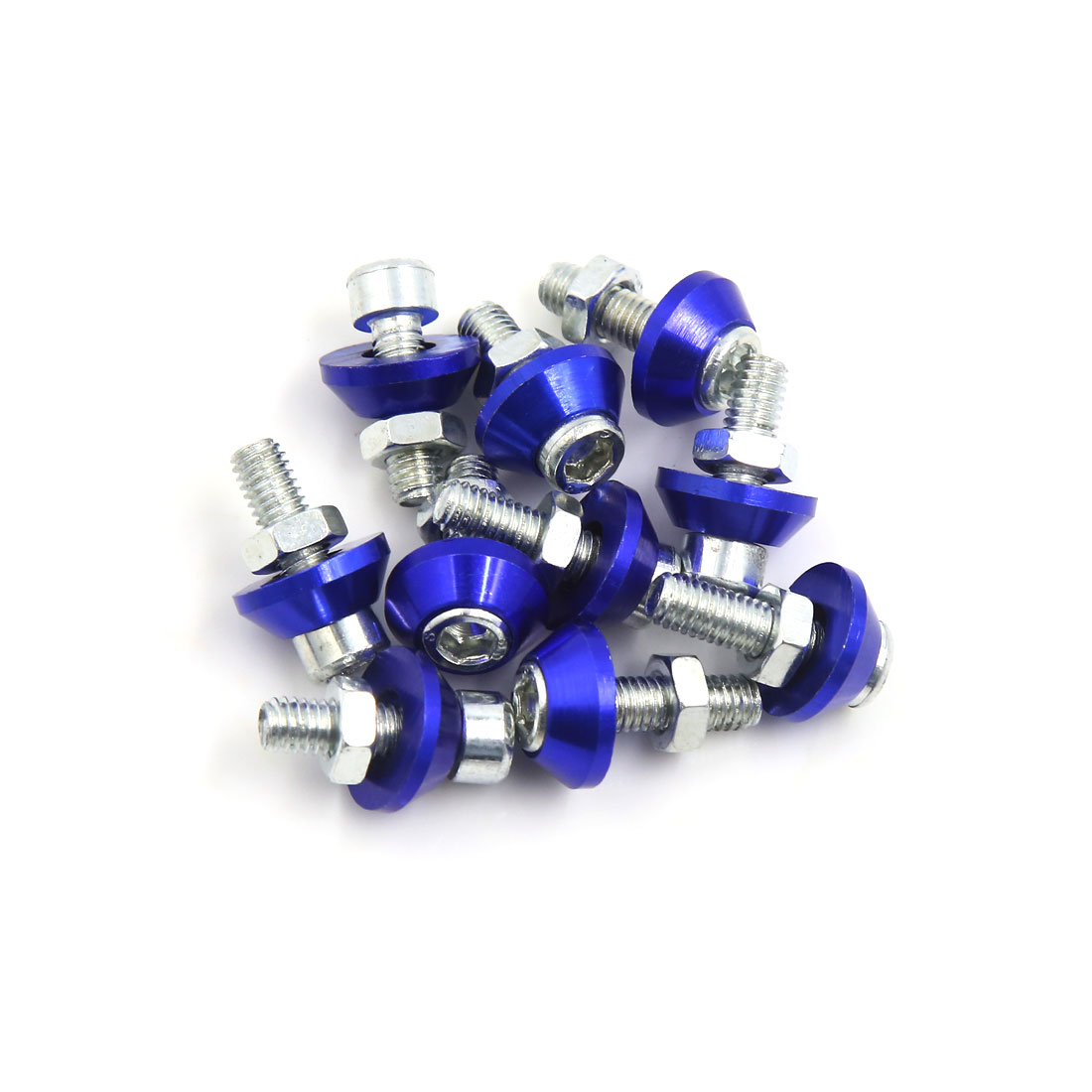 10 Pcs 6mm Thread Dia Blue Motorcycle Car Decorative License Plate Bolts Screws