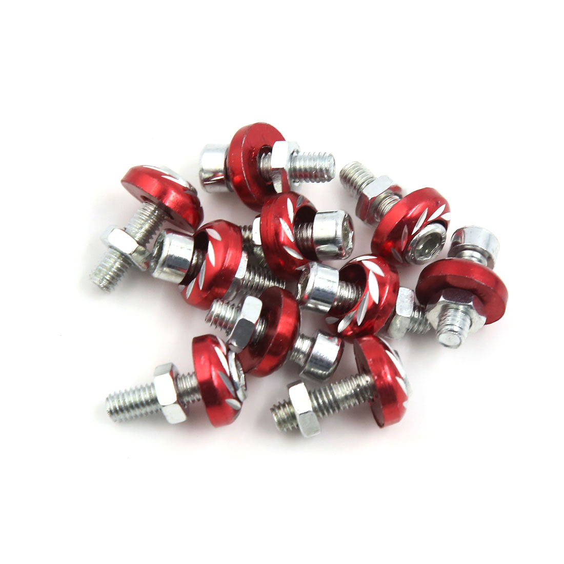 10 Pcs 6mm Thread Dia Red Motorcycle Car Decorative License Plate Bolts Screws