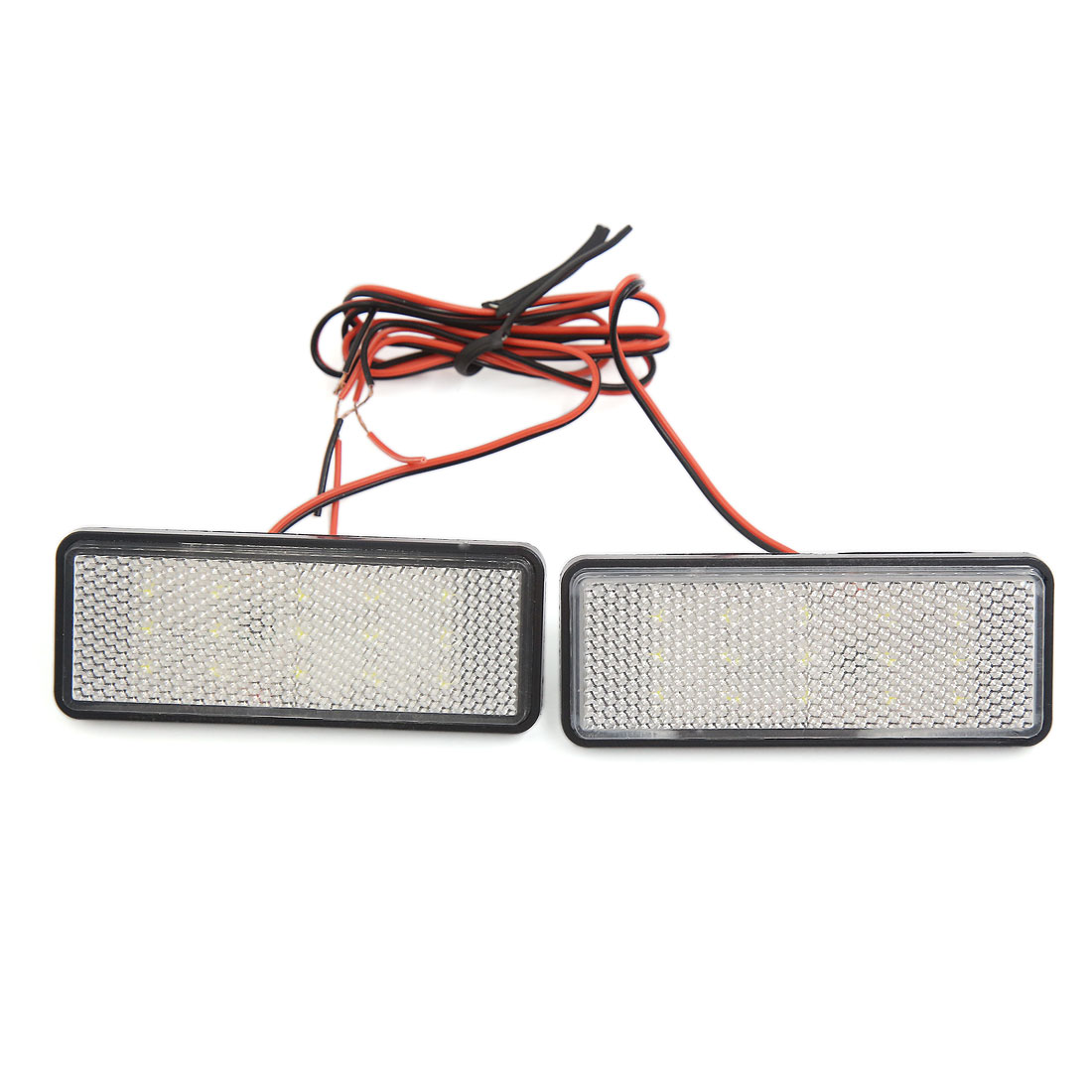 Car Motorcycle Rectangle Reflector White LED Strobe Lamp Rear Tail Light 2pcs