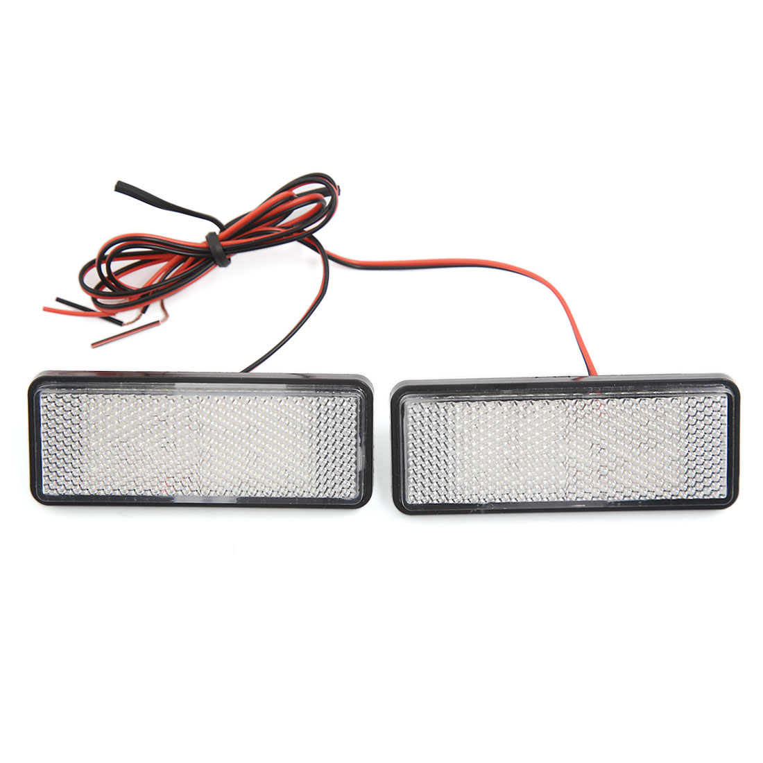 2pcs Universal Car Motorcycle Rectangle Reflector Red LED Strobe Lamp Rear Tail Light