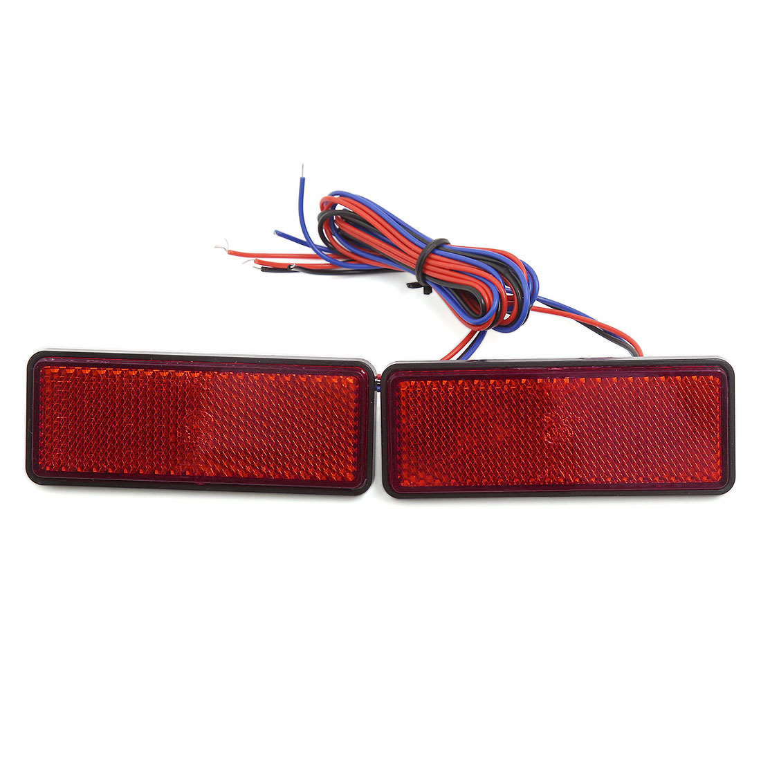 2pcs Red Motorcycle Car LED Light Rectangle Reflector Tail Brake Marker