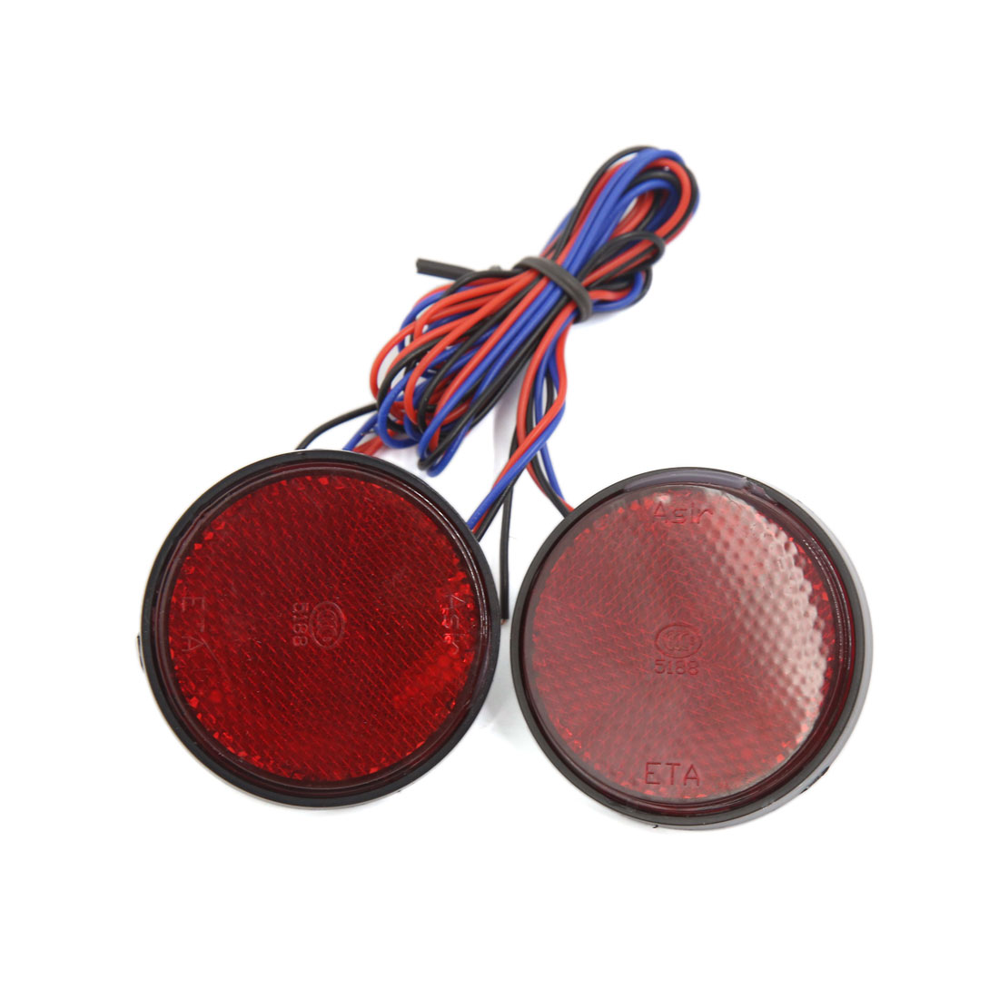 2pcs Red Motorcycle Car LED Light Round Reflector Tail Brake Marker