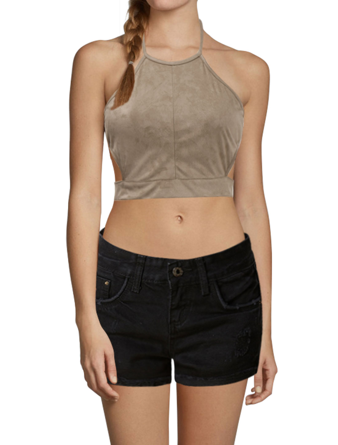 Women Zip Up Open Back Cut Out Sides Halter Neck Crop Top Brown L
