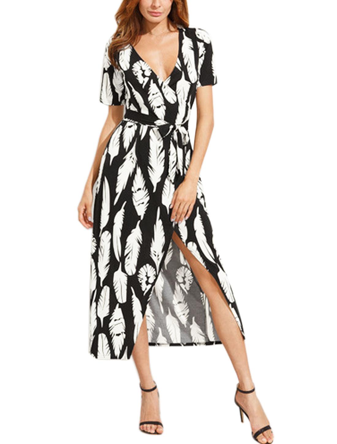 Women Crossover V Neck Feather Prints Midi Wrap Dress w Belt White Black M