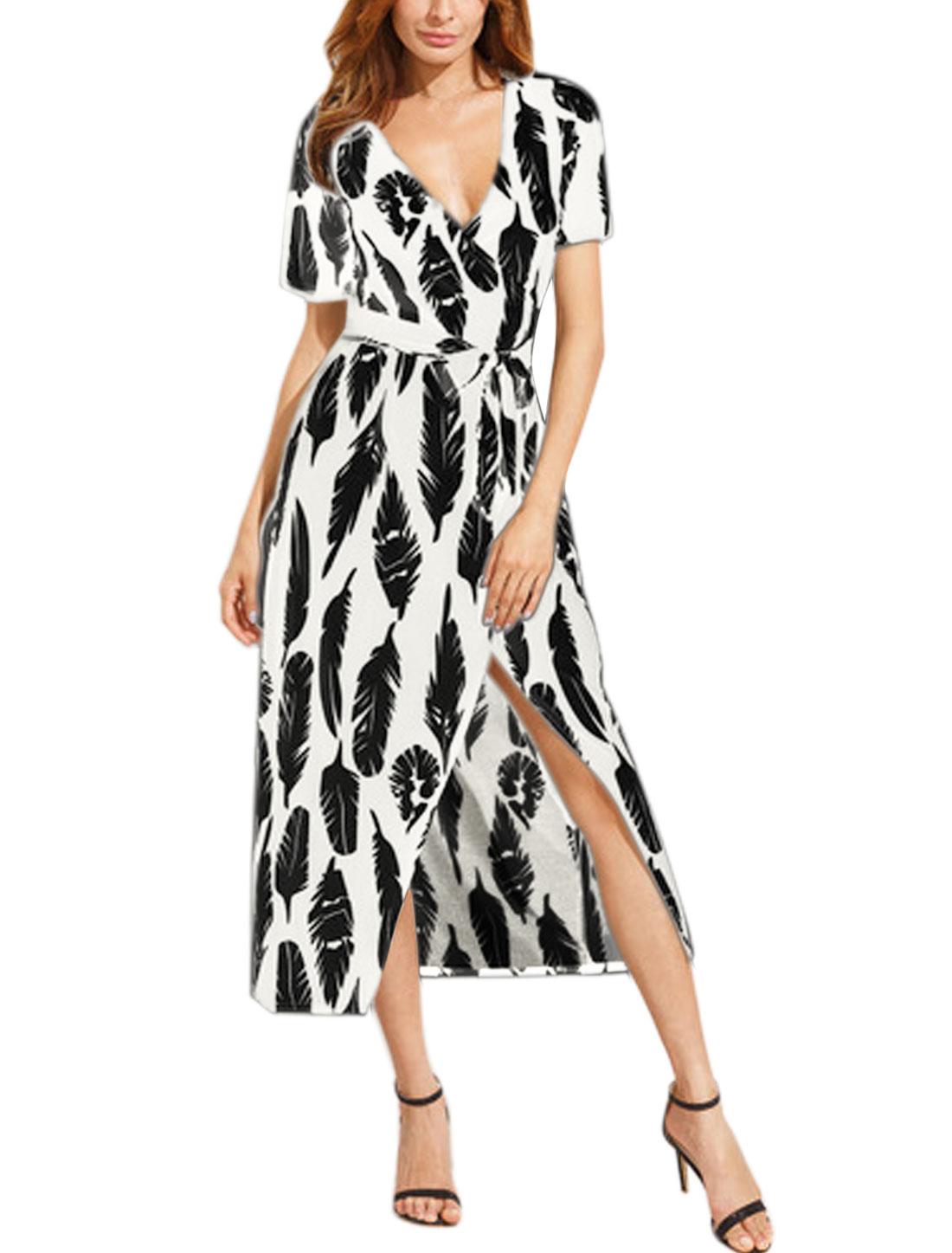 Women Crossover V Neck Feather Prints Midi Wrap Dress w Belt White Black L