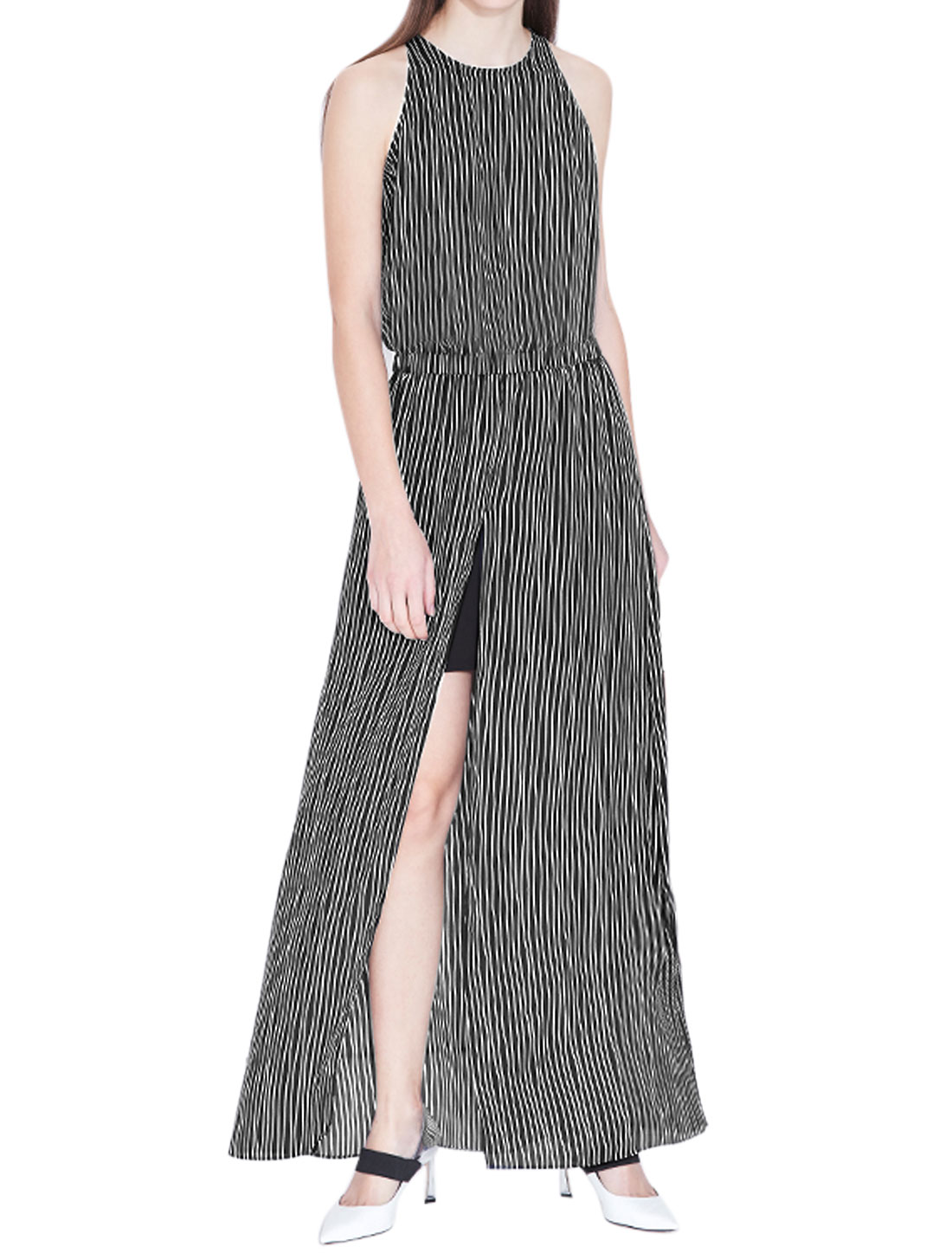 Women Split Front Elastic Waist Stripes Round Neck Maxi Dress Black S